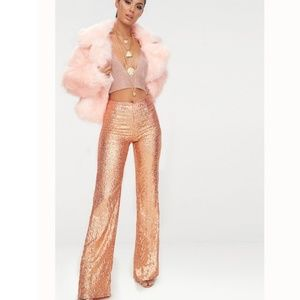 NWT Rose Gold Sequin Trouser Pants